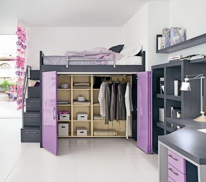 walk-in closet under the bed. stairs, complete with railing, that are also drawe…