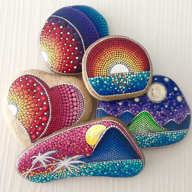 Very cool painted rock scenes! Sunset on painted rocks. Tropical and mountains….