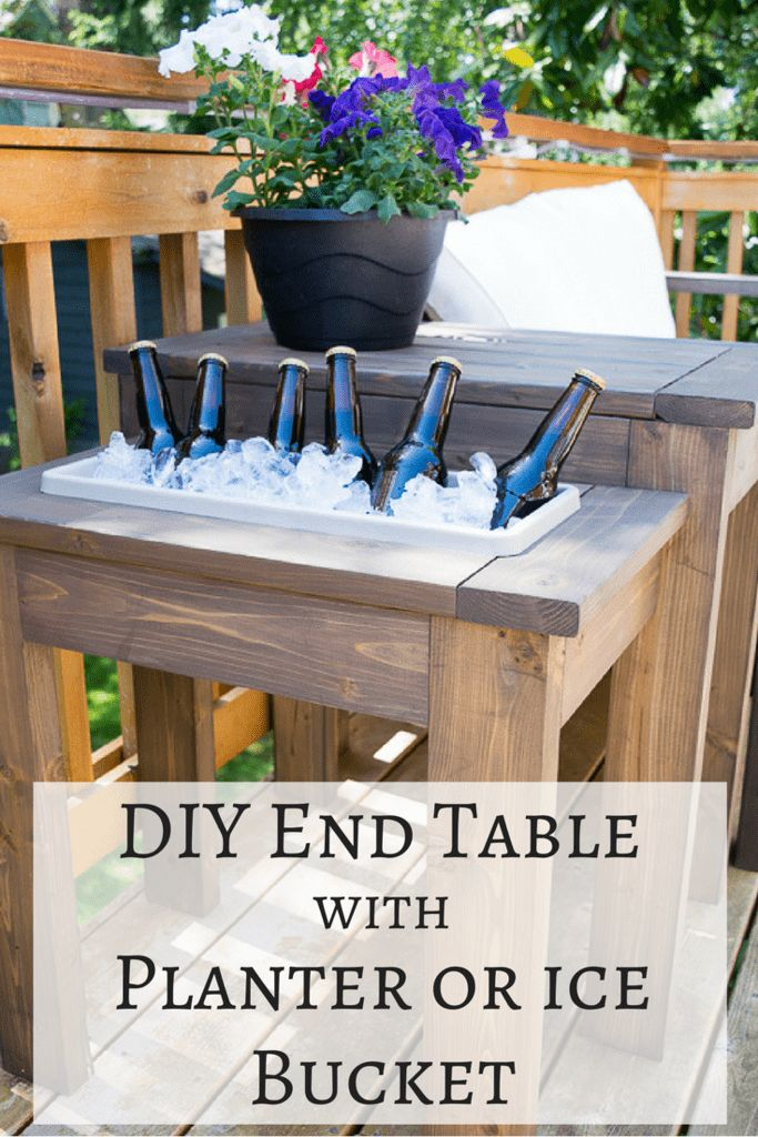 This DIY end table is genius! Switch out the planter box for an ice bucket durin…