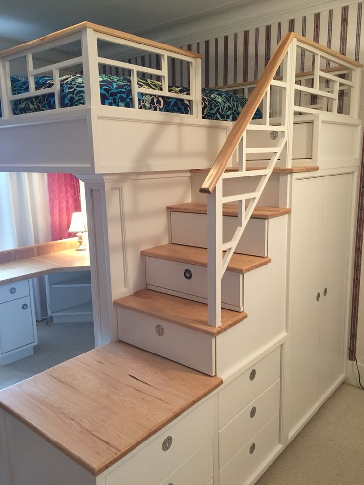 Loft bed with stairs, drawers, closet, shelves and desk…