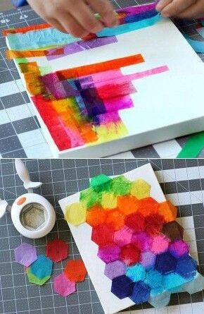 Interesting tissue paper abstract art. This could be fun!…