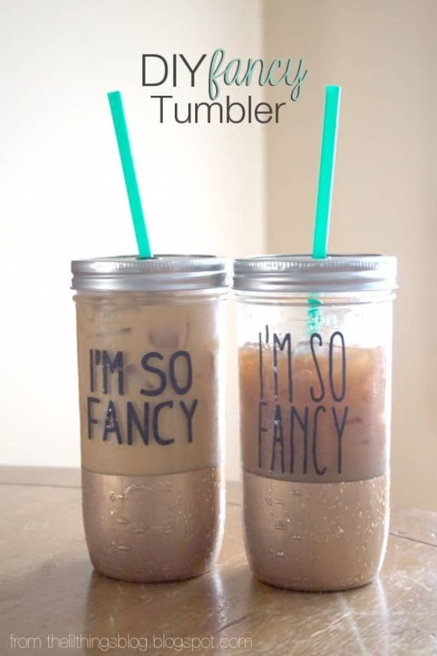 DIY Projects for Teenagers – DIY Fancy Tumbler – Cool Teen Crafts Ideas for Bedr…