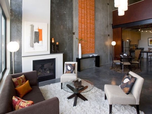 a study in gray and orange…cool but inviting…