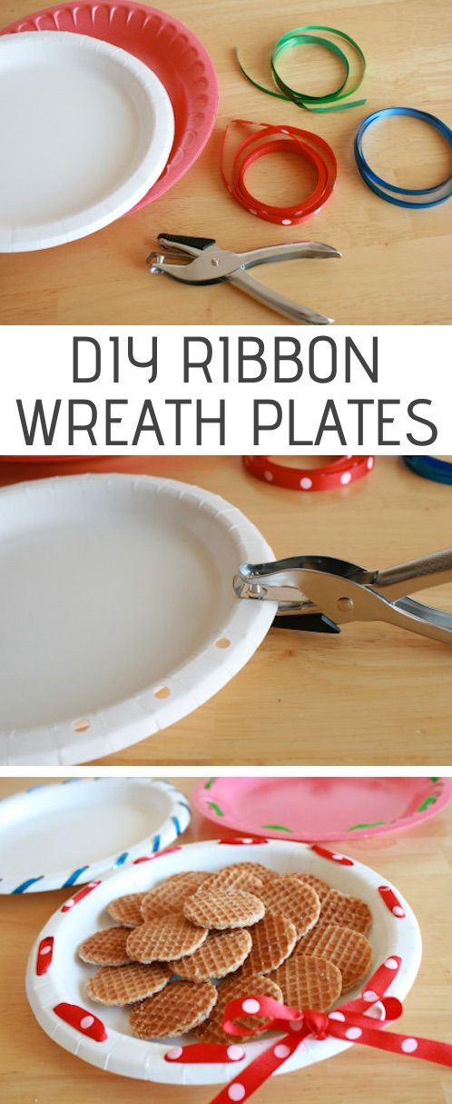 DIY ribbon wreath plates for holiday treats! — Easy DIY craft ideas for adults …
