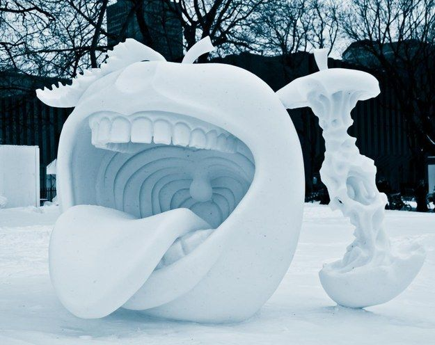 This cannib-apple.   29 Seriously Cool Snow Sculptures That Will Make You Want A…