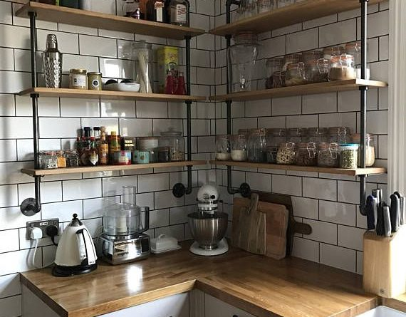 Loft Style Steel Pipe Wall Hanging Shelving Unit Handmade in West Yorkshire Made…