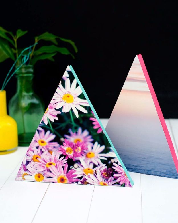DIY Projects for Teenagers – DIY Neon Triangle Photo Frames – Cool Teen Crafts I…