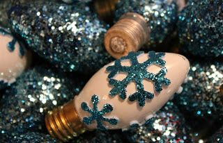Glittered Christmas Light Bulbs and painted bulbs with glitter snowflake sticker…