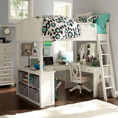 Pottery Barn Teen Loft Bed desk and shelves | WANT IT SO BAD!!!!!!…