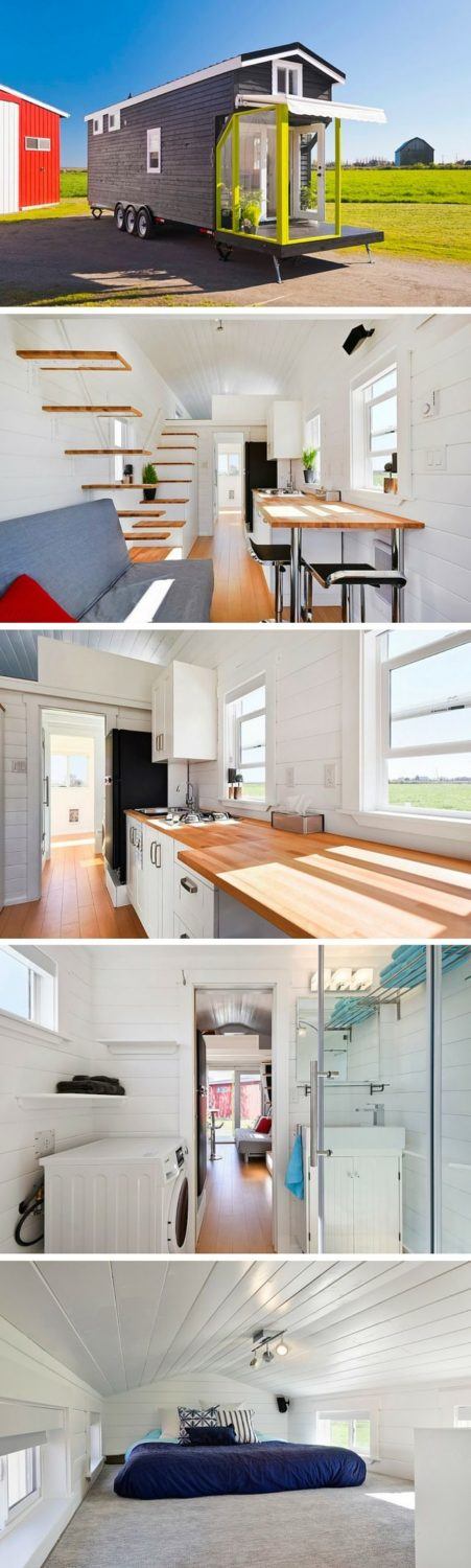 A custom tiny house on wheels from Tiny Living Homes. This 310 sq ft home has tw…