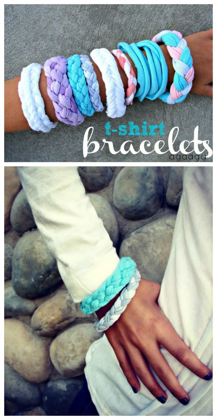 t-shirt bracelets 4 different ways–great kids craft! pinned over 7000 times…