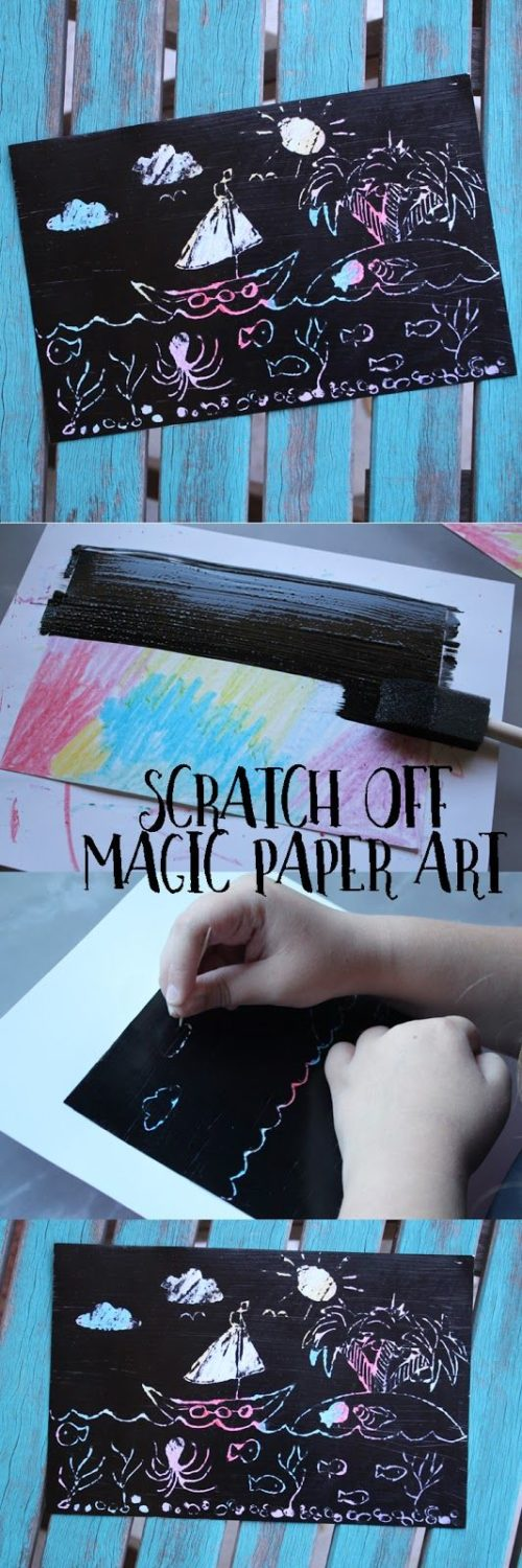 Scratch off magic paper art is an easy and fun craft for kids of all ages. It&#3…