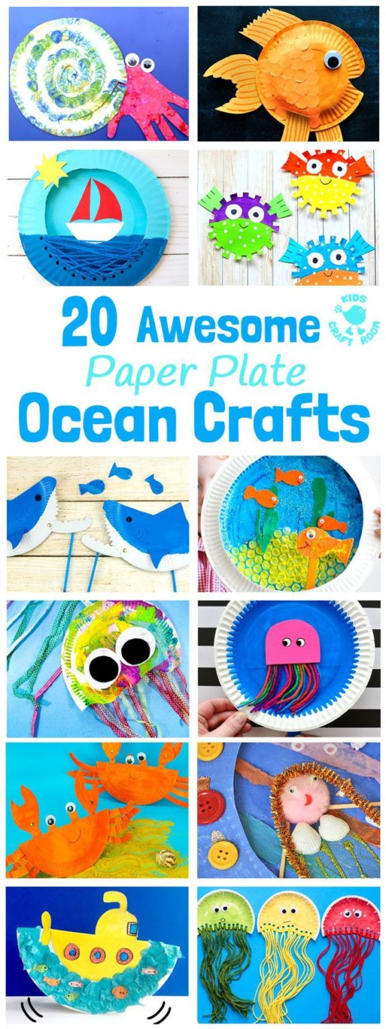 PAPER PLATE OCEAN CRAFTS – 20 awesome sea themed Summer crafts for kids. From sw…