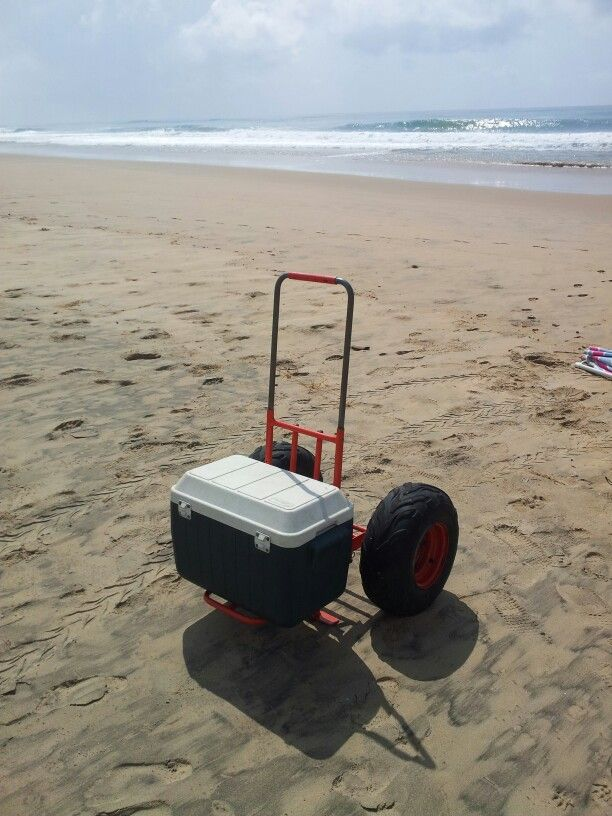 Beach cart, folding trolley. Easily take your cooler box, chairs, gazebo and all…
