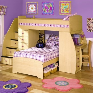 Have always loved bunk beds.  Love this one because you can pick colorful knobs …