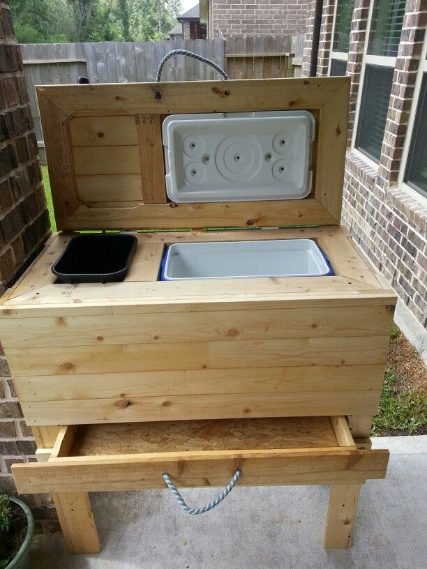 Diy cooler/trash can stand w/drawer for patio! Hubby did a great job!…