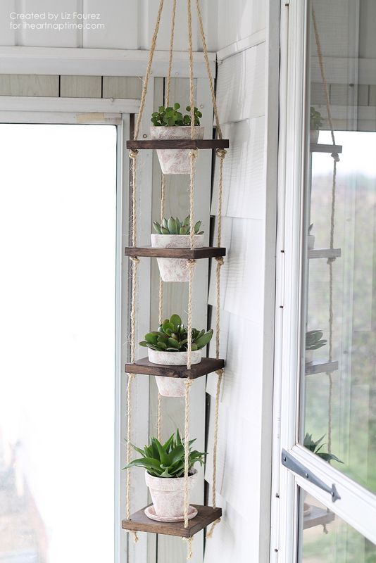 Rope vertical plant hanger for awkward kitchen space…