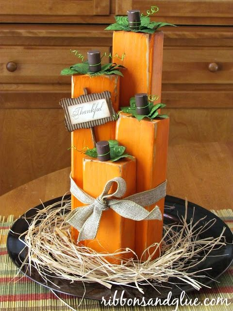 Create these Wood Block Pumpkins out of painted wood blocks. Love the rustic loo…