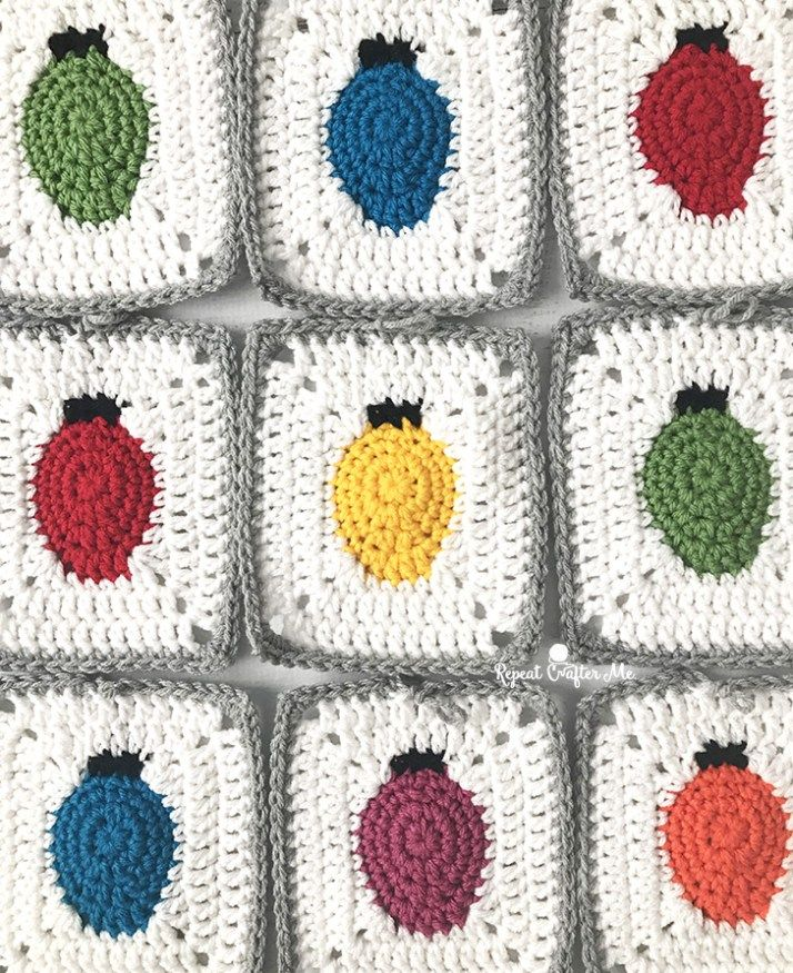 Crochet Christmas Lights Granny Square – Repeat Crafter Me this would be adorabl…