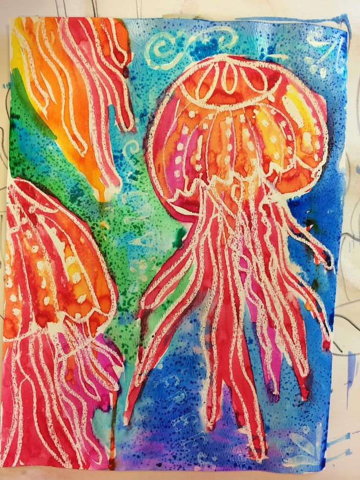 I love the warm and cool colors used. The salt effect came out great….